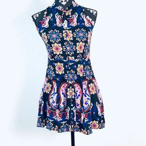 PHILOSOPHY multi colored floral stain glass dress
